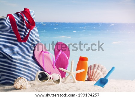 Beach accessories. Concept of summer vacations - stock photo