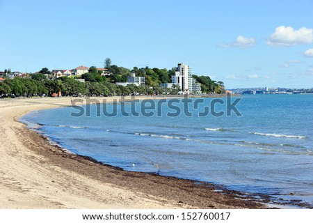 Beach along Mission Bay, Auckland, New Zealand - stock photo