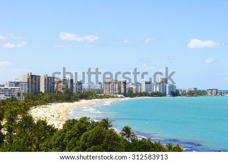Beach and hotels in Puerto Rico. - stock photo