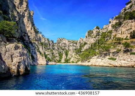 Beach and lagoon Calanque d'En Vau on Cote de Calanques coast between Marseilles and Cassis, Provence, France - stock photo