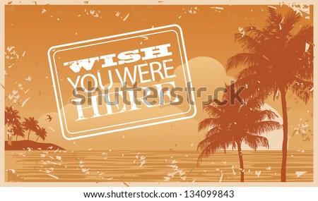 Beach and palm tree background. jpg - stock photo