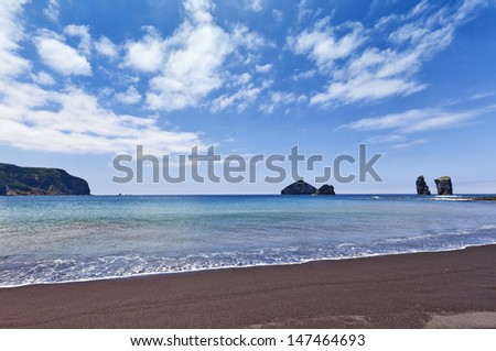 Beach and rocks of the same name at Mosteiros, Sao Miguel, Azores - stock photo