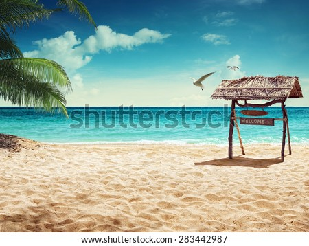 beach and tropical sea. concept for rest - stock photo