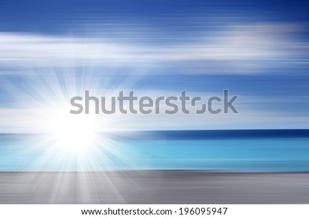 Beach and tropical sea with bright sun - stock photo