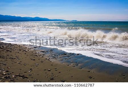 Beach at Dungeness Spit, Washington, United States. - stock photo