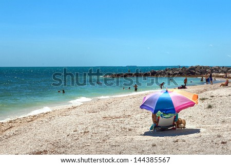 Beach at Fort Zachary Taylor Historic State Park in Key West, Florida.  - stock photo
