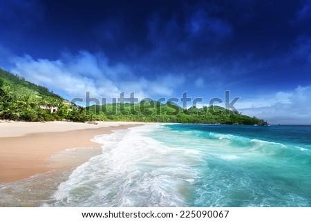 beach at Mahe island, Seychelles  - stock photo