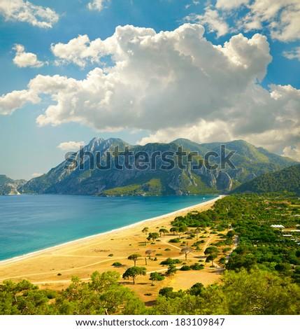 Beach at Mediterranean sea. Cirali, Turkey - stock photo