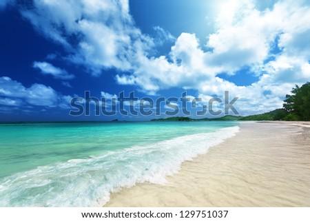 beach at Praslin island, Seychelles - stock photo