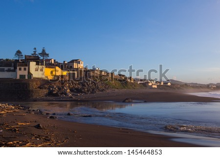 Beach at Ribeira Grande on St. Miguel on the azores - stock photo