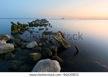 beach at sunset - stock photo