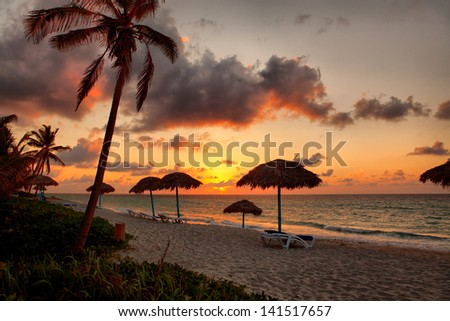 Beach at sunset, Varadero, Cuba - stock photo