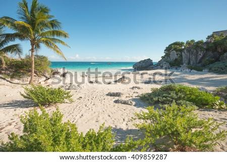 Beach at the aztec temples in Tulum, Mexico - stock photo