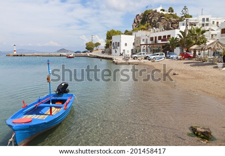 Beach at the Scala port of Patmos island in Greece - stock photo
