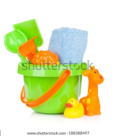 Beach baby toys and towel. Isolated on white background - stock photo