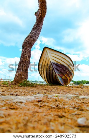 Beach Background.Boat on the beach - stock photo