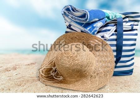 Beach Bag, Beach, Bag. - stock photo