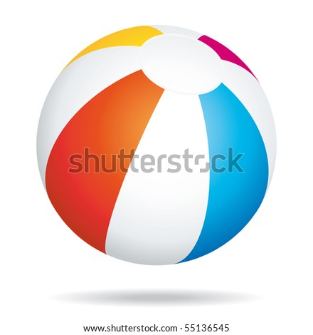 Beach ball bouncing icon. - stock photo