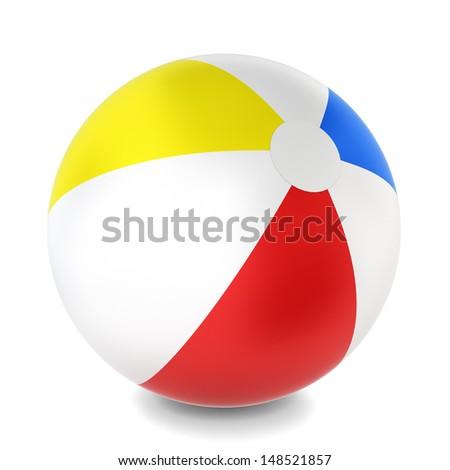 Beach ball. 3d illustration on white background  - stock photo