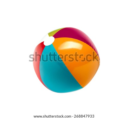 Beach ball isolated on pure white background - stock photo