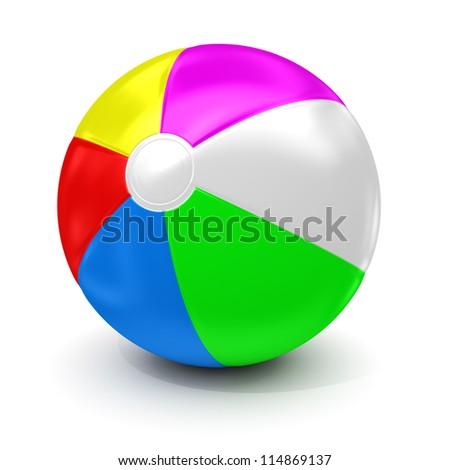 Beach ball - isolated on white background - stock photo