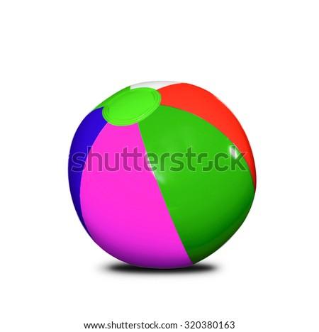 Beach ball isolated on white background - stock photo