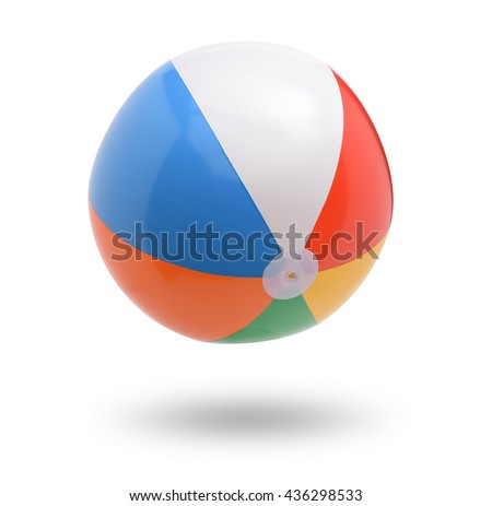Beach ball isolated on white background - stock photo