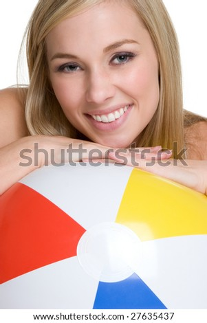 Beach Ball Woman - stock photo