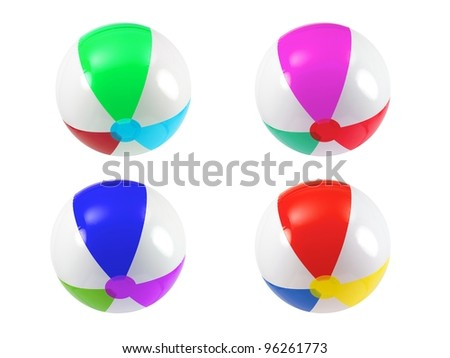 Beach balls isolated against a white background - stock photo