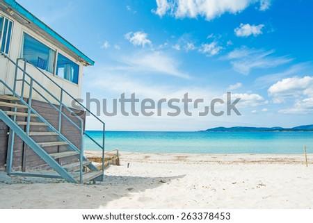 beach bar by the shore in Sardinia, Italy - stock photo