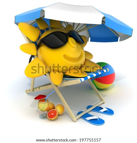 Beach bed blue (done in 3d)  - stock photo