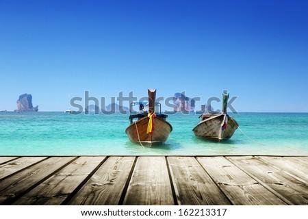 beach,  boats, Andaman Sea, Thailand  - stock photo