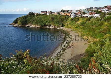 Beach by San Antonio Fort, Ancud, Chiloe Islands, Chile - stock photo