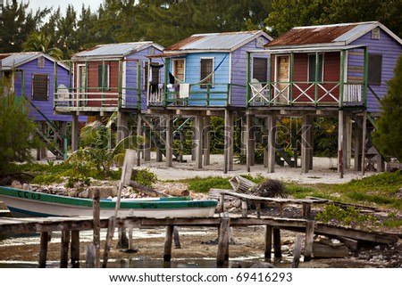 Beach cabanas on caye caulker - stock photo