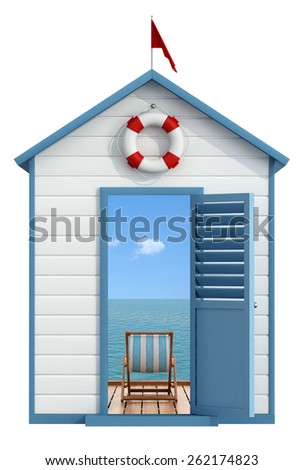 Beach cabin with open door, inside a pier on the sea with deckchair - 3D Rendering - stock photo