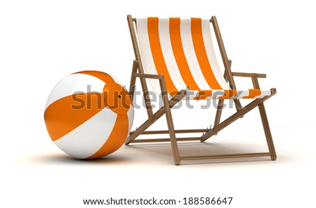 Beach Chair and Beach Ball - stock photo