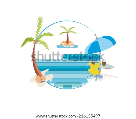 Beach chair and umbrella on idyllic tropical sand beach,palm trees and sea - stock photo