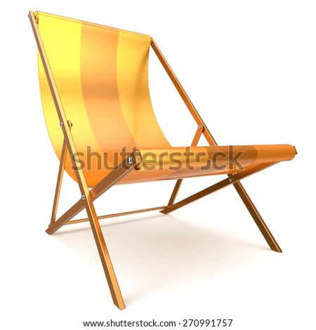 Beach chair chaise longue nobody yellow relaxation holidays spa resort summer sun tropical sunbathing travel leisure comfort outdoor concept. 3d render isolated on white  - stock photo