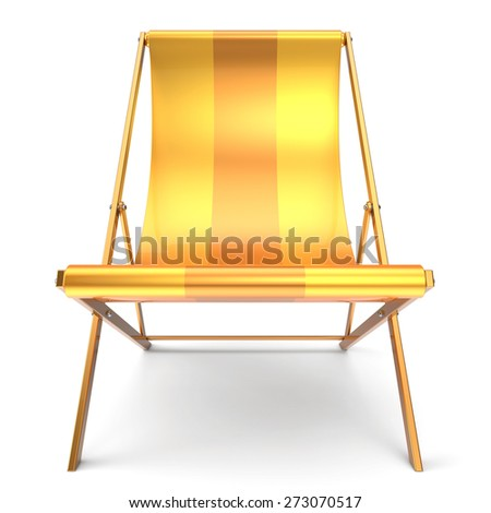 Beach chair nobody yellow chaise longue relaxation holidays spa resort summer sun tropical sunbathing travel leisure comfort outdoor concept. 3d render isolated on white background - stock photo