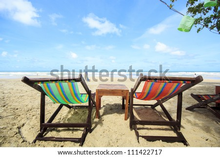 beach chair on the beach , Thailand - stock photo
