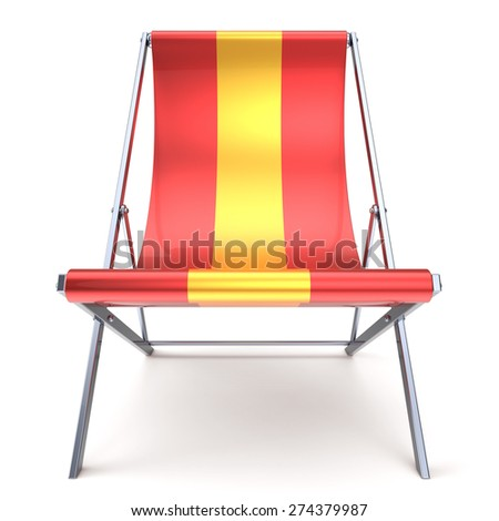 Beach chair red yellow chaise longue nobody relaxation holidays spa resort summer sun tropical sunbathing travel leisure comfort outdoor concept. 3d render isolated on white - stock photo