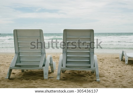 Beach chair, Vintage effect - stock photo
