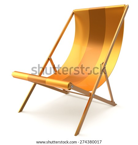 Beach chair yellow chaise longue nobody relaxation holidays spa resort summer sun tropical sunbathing travel leisure comfort outdoor concept. 3d render isolated on white  - stock photo