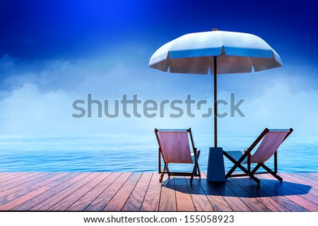 Beach chairs and  umbrella on seaside terrace backside view 3d rendered - stock photo