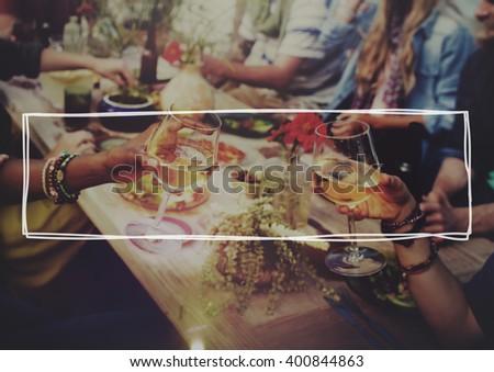 Beach Cheers Celebration Friendship Summer Fun Dinner Concept - stock photo