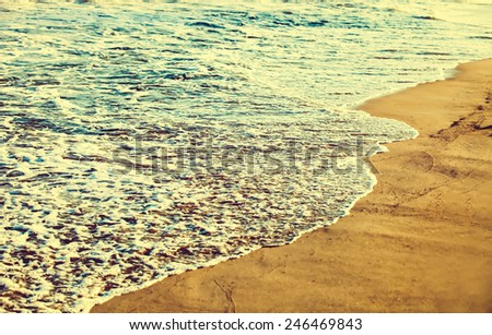 Beach coastline at sunset - stock photo