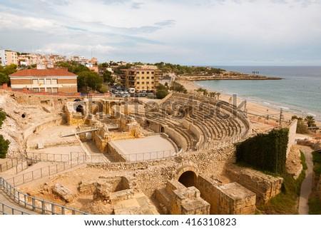 beach costa dorada, catalonia, spain - stock photo