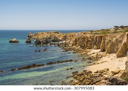 Beach Cove in Albufeira, Portugal, Horizontal Photograph - stock photo
