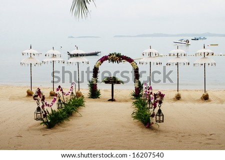 Beach decorated for a wedding in Thailand. - stock photo