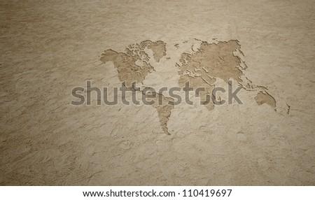Beach Earth Map - stock photo